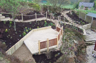 Multi-level decking with walkway